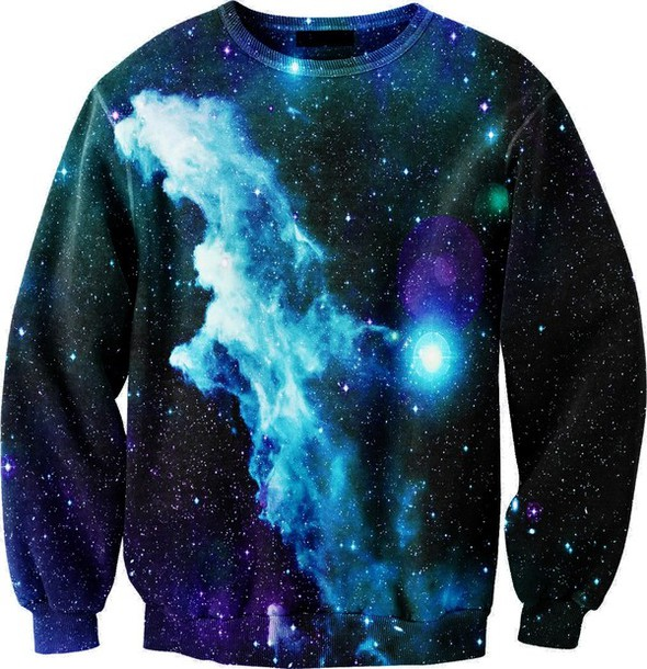 Sweater Galaxy Print Crewneck Night Majestic Aurora