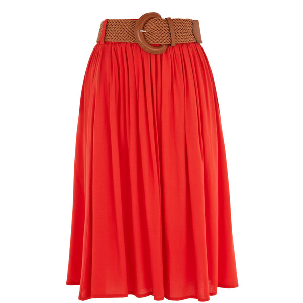 elasticated waist midi skirt - Polyvore