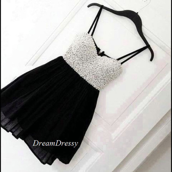 little black dress homecoming dress white pearl dress