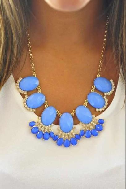 jewels blue diamonds bold chunky necklace gold statement necklace sky blue bubble necklace blue necklace chunky necklace sparkle preppy blouse women
