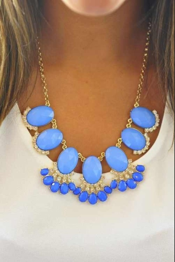 jewels blue diamonds bold chunky necklace gold statement necklace sky blue bubble necklace blue necklace chunky necklace sparkle preppy blouse women