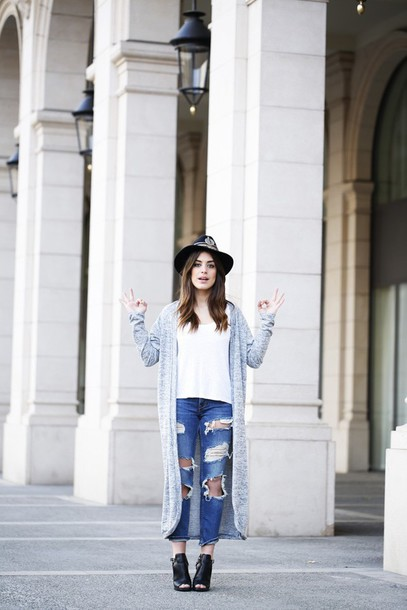 dulceida blogger cardigan shirt hat ripped jeans shoes jeans