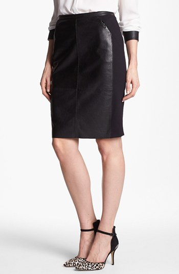 2a9d5ecf9f Halogen® Leather & Ponte Pencil Skirt (Regular & Petite) | Nordstrom
