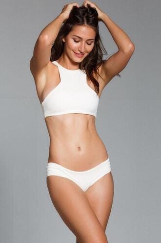 top bikini top halter top racerback white swimwear bikiniluxe