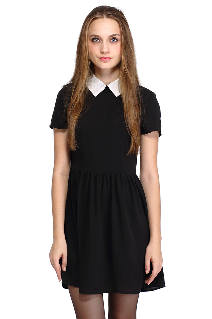 ROMWE | ROMWE Dual-tone A-line Little Black Dress, The Latest Street Fashion