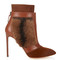 Calf-hair and leather ankle boots