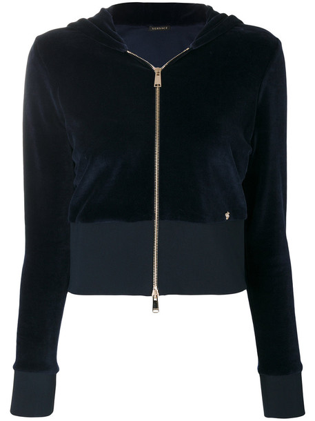 hoodie cropped women cotton blue sweater