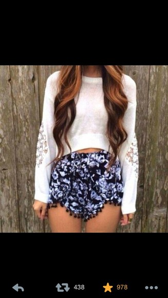 shorts sweater blue shorts pom poms