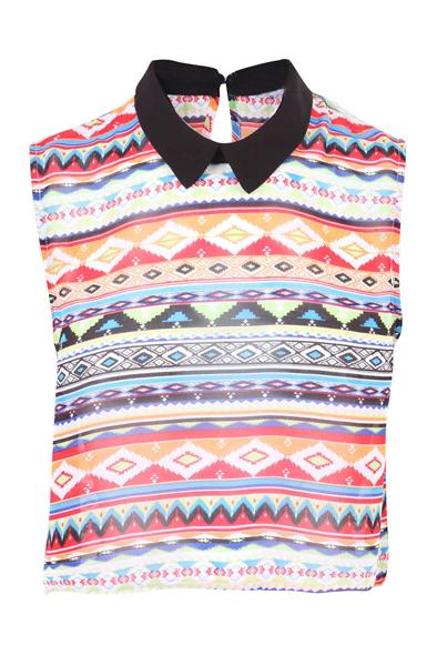 Print aztec sleeveless top at fashion union