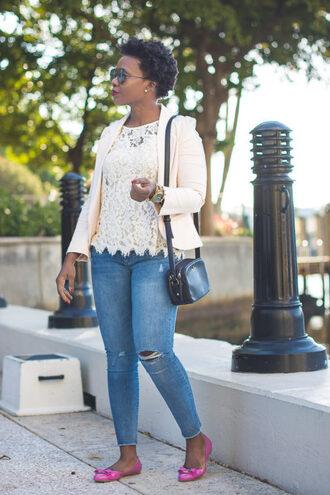pinksole blogger sunglasses jewels jacket top jeans bag lace top blazer shoulder bag ballet flats skinny jeans plus size jeans curvy plus size