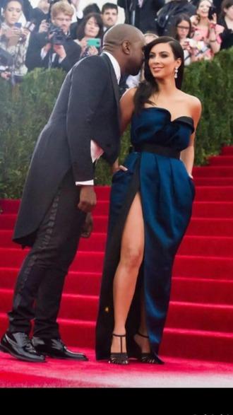 dress kim kardashian cute blue dress black dress beautiful homecoming dress homecoming strapless dress strapless
