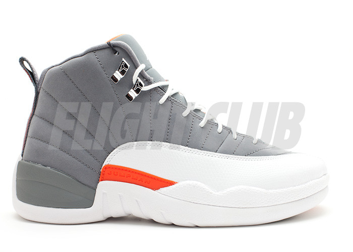 "air jordan 12 retro ""cool grey"" - cool grey/white-team orange  