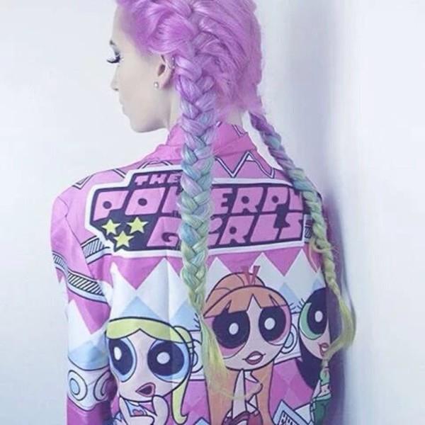 jacket pink purple powerfull girly girl beautiful colorful cute pastel the powerpuff girls bomber jacket kawaii grunge