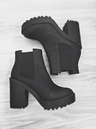shoes black boots heels grunge platform shoes h&m