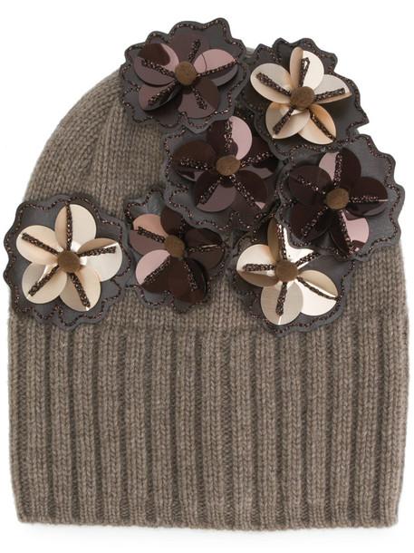 Le Chapeau women beanie cotton wool brown hat
