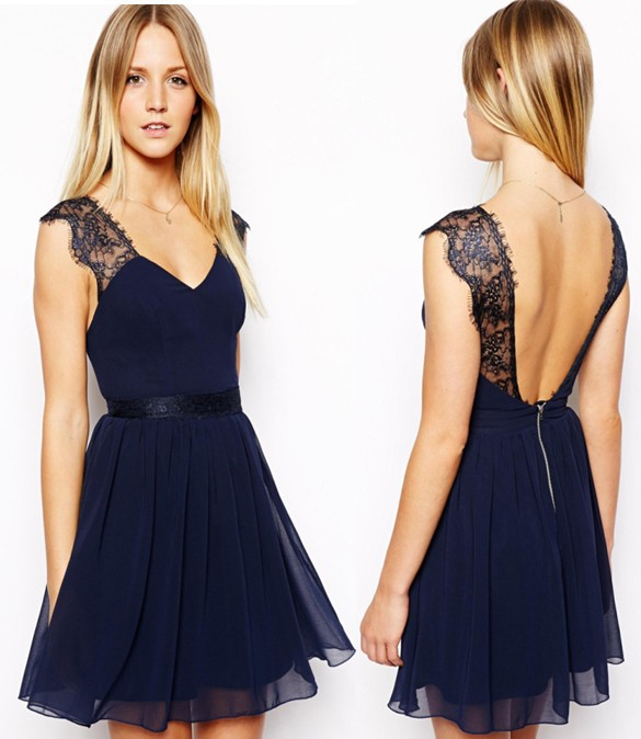 950 2014 New Summer Casual European Exclusive Sleeveless Sexy Lace Halter Chiffon Dress | Amazing Shoes UK