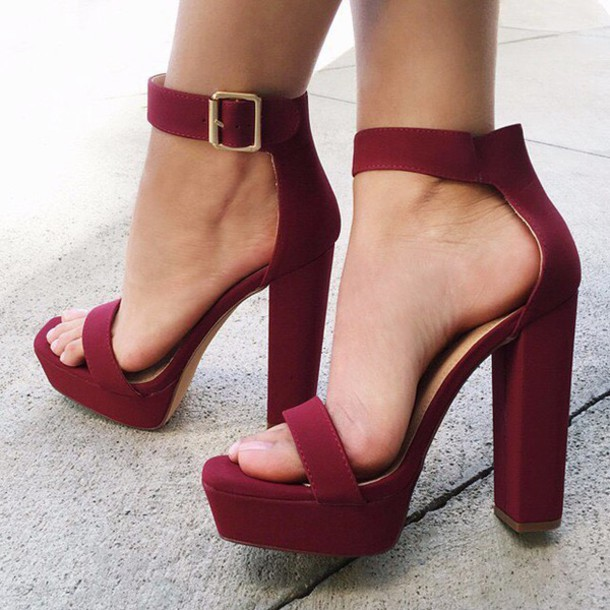Shoes: burgundy, chunky sole, chunky heel, single strap, spring ...