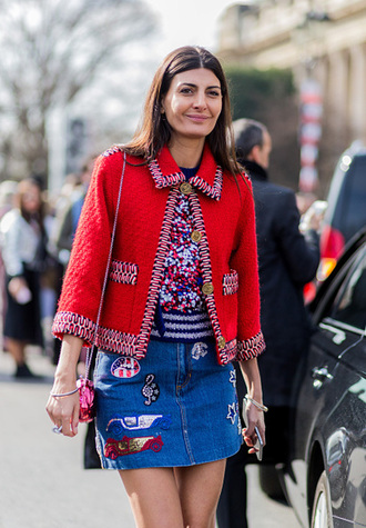 skirt embroidered denim skirt mini skirt denim skirt blue skirt jacket red jacket top printed top multicolor bag shoulder bag streetstyle