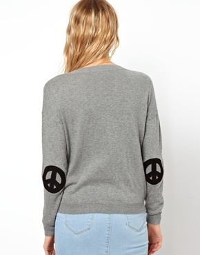 Asos jumper with peace sign elbow patches at asos