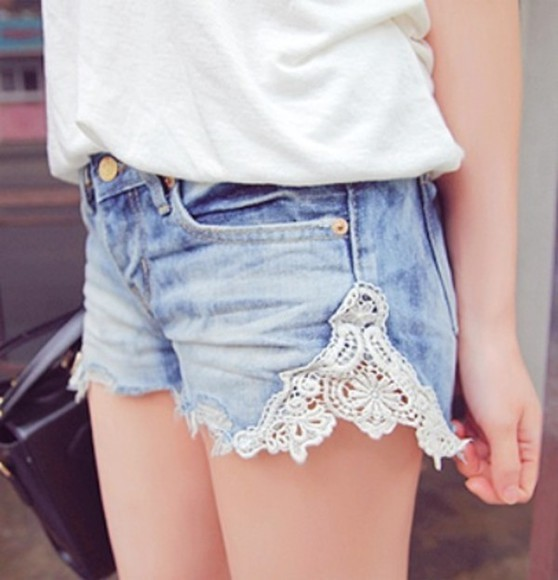 denim shorts lace