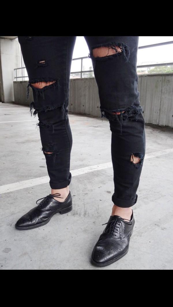 jeans denium black jeans ripped jeans skinny hands symbols
