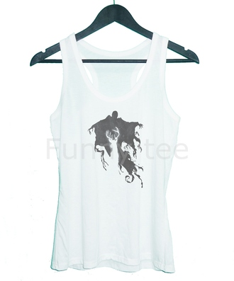 tank top dementor teen tank top cute top sleeveless top racerback tank white tank top harry potter