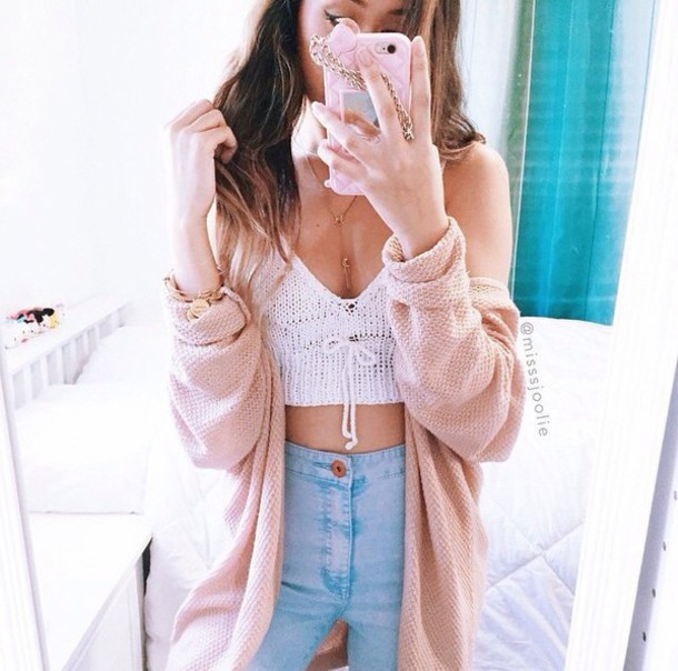 top white crop tops high waisted jeans pink coat cardigan shirt knitted top