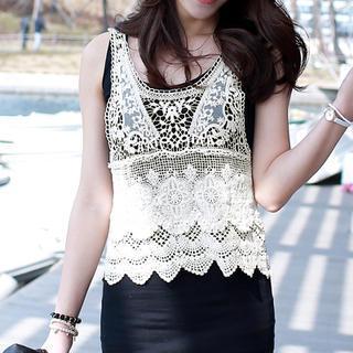 Crochet Sleeveless Top, Cream , One Size - WHITE FOX   YESSTYLE