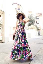 ktr style,blogger,dress,bag,hat,summer outfits