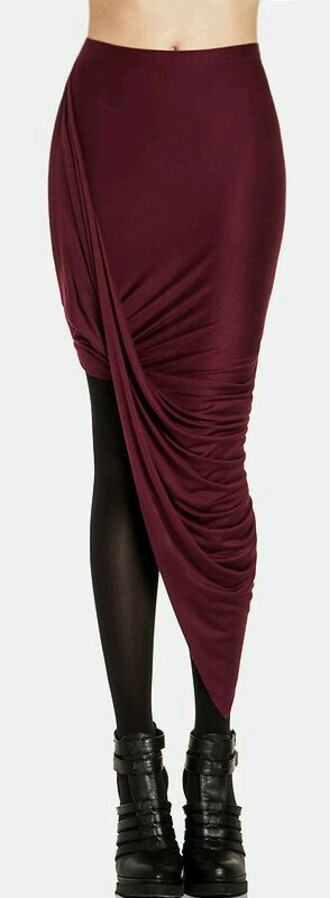 skirt asymmetrical skirt twist red burgundy skirt long