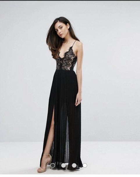 dress black plunge neck with lace top long dress