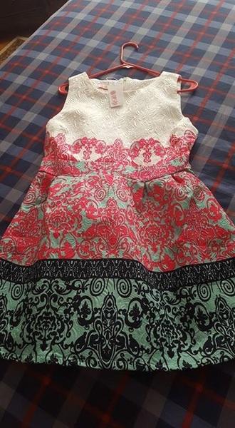 dress mint pink white black patterned dress