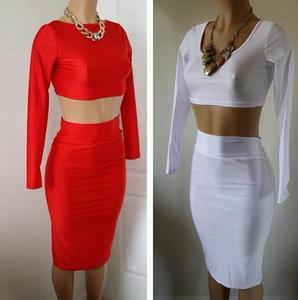 Red two piece skirt set