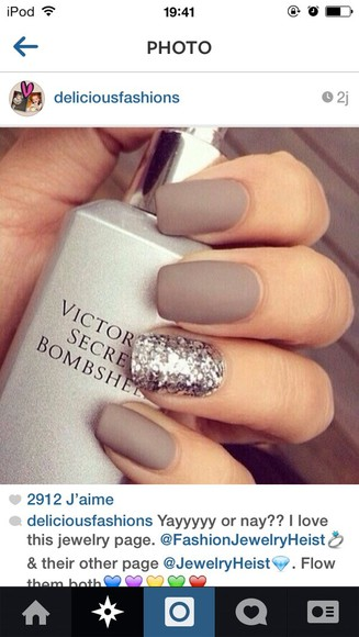 nail polish nails grey brown glitter victoria's secret classy