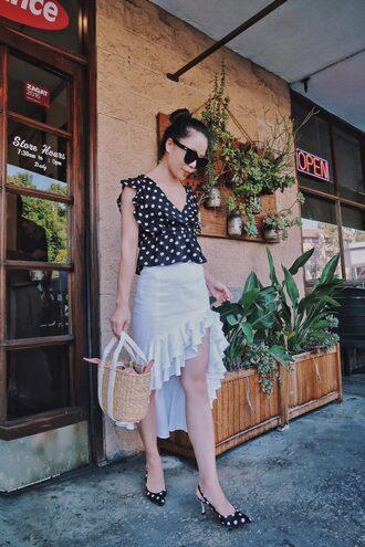 skirt ruffle skirt polka dots polka blouse basket bag sunglasses blogger blogger style asymmetrical skirt kitten heels