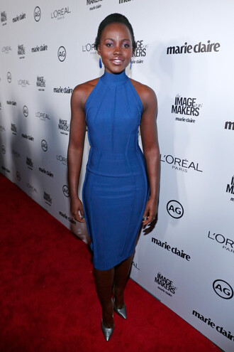 dress bodycon dress midi dress pumps lupita nyong'o