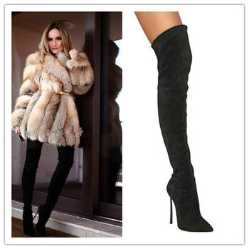 Plus size eu34 42 black over knee women boots pointed toe thigh high boots suede leather elastic high heel boots free shipping