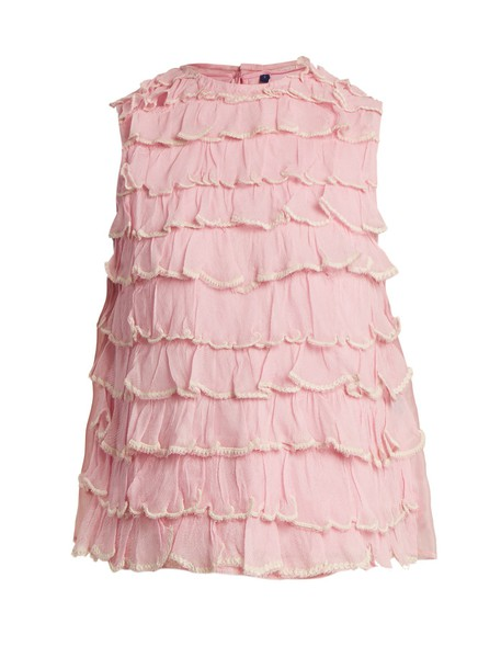 JUPE BY JACKIE top ruffle silk light pink light pink