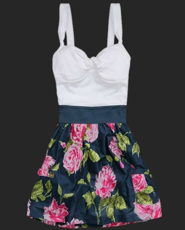 MINI SKIRT WITH SHOULDER-STRAPS OF CULTIVATE ONE'S MORALITY SWEET ROUND COLLAR FLORAL DRESS / melodyclothing