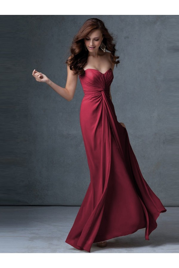 A-line Strapless Empire Sleeveless Chiffon Burgundy Evening Gowns With Ruffles