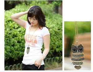 Retro jewelry wholesale long paragraph owl necklace sweater chain female