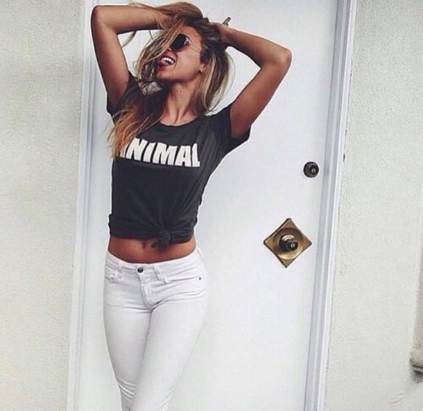 shirt black animal t-shirt cool pants sexy top animal top black t-shirt animal print white stamp