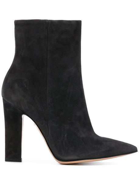 Gianvito Rossi women ankle boots leather suede grey shoes