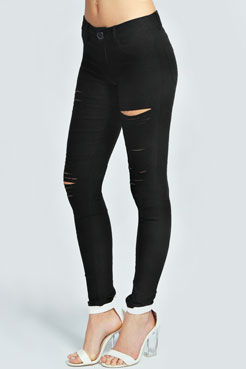 Rose Ripped Stretch Jeans at boohoo.com