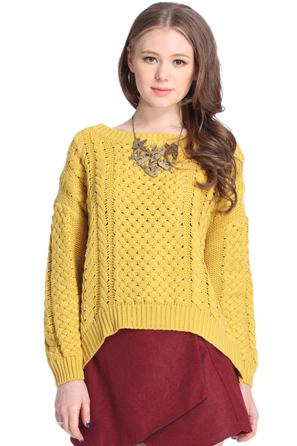 ROMWE | Asymmetric Cut-out Yellow Jumper, The Latest Street Fashion