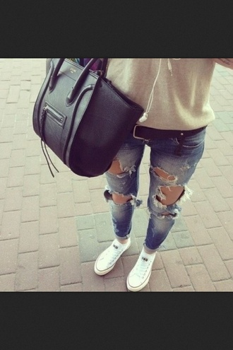 jeans sweatshirt ripped jeans white converse