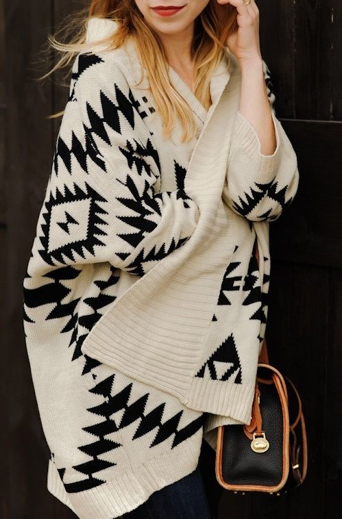 Off-white Sweater - 'Sadie' Ivory/Black Aztec Print Open | UsTrendy