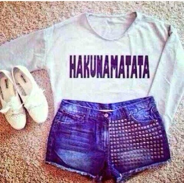 sweater hakuna matata disney studded shorts shoes shorts