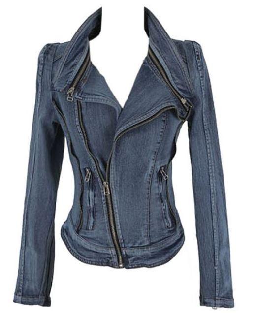 Slim Denim Jacket With Off-center Zipper