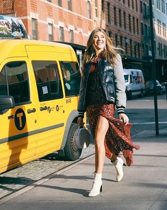 jacket down jacket boots white boots dress floral dress slit dress bomber jacket maxi dress ankle boots